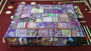 """Embroidered square 16"""" Purple cotton patchwork heavy duty ottoman puff cover"""