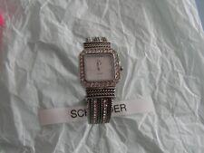 Premier Designs TRIBUTE silver crystal cuff watch rv $98 FREE ship nwot