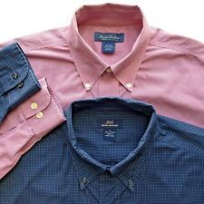 Brooks Brothers Lot of 2 Long Sleeve Casual Button Up Shirt Blue Red Large