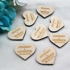 50pcs Personalised Name and wedding date Wooden Love Hearts Wedding Decorations