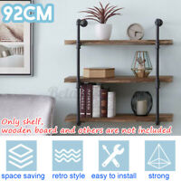 US 3-Tier Wall Mount Shelf Metal Pipe Shelving Bracket Home Storage Holder Rack