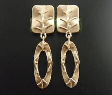 earrings Clip on Golden Long Pendant Square Oval Ring Engraving Retro J9