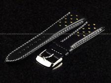 Authentic TechnoMarine 7614 Black & Beige Leather Strap W/ Buckle 20 mm