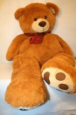 "Toys R Us GINORMOUS 48"" Brown Teddy Bear w/Green & red Christmas Scarf Plush"