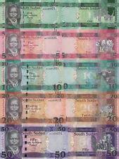 South Sudan 5 PCS Set: 1, 5, 10, 20, 50 Pounds (2015/17) p5,p11,p12,p13,p14 UNC