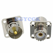 2pcs Conversion Slide-on quick Uhf So239 to Pl259 flange panel Adapter connector