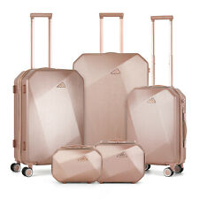 5 Pieces Travel Spinner Luggage Set ABS Trolley Carry On Suitcase,Rose Gold