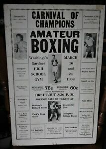 Rare Vintage 1938 Boxing Poster: Carnival of Champions, Albion Michigan