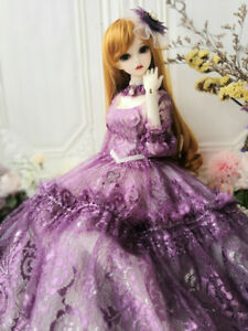 1/4MSD 1/3SD BJD Clothes Doll Outfit Purple Embroidered Dress+Choker+Headwear AS
