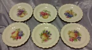 "six of Winterling Marktleuthen 4"" ivory, gold ,fruits scallop plate"