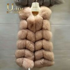 Luxury Quality Natural Real Fox Fur Vest Winter Jacket S-XXL Beige Blue Red Pink