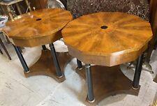 Pair Burl Walnut Ebony Biedermeier Stylish Living Room End Sofa Tables