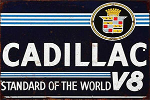 Metal Tin Sign cadillac V8 Pub Home Vintage Retro Poster Cafe ART