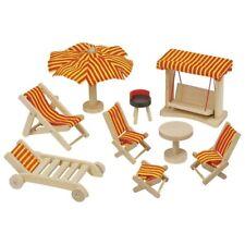 Puppengartenmöbel, goki 51913, Möbel für Puppenhaus, Gartenmöbel, komplett