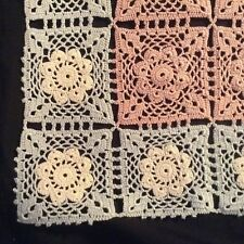"""Amazing HAND CROCHET TABLECLOTH appears unused 65x50"""" pink w/ white & blue edge"""