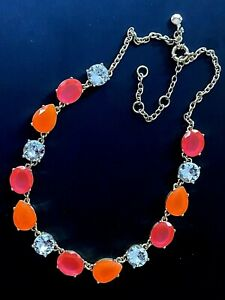 J.CREW Statement Neon Lucite Crystal Necklace Pink/Orange Clear Glass Gold Tone