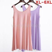 Women Scoop Neck Dress Tunic A-Line Long Tank Top Sleeveless Flared Shirt Plus