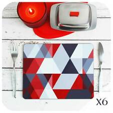 Scandi Placemat Set of 6, Grey & Red  Placemats, Geometric Table Mats, Grey Home