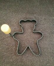 Vintage Metal Cookie Cutter With Rotating Wood Handle Bear Shape