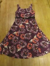 BHS LINEN BLEND FIT & FLARE STYLE FLORAL BELTED DRESS, SIZE 10, EX CON, PURP MIX