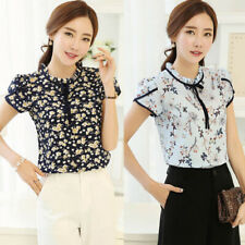 Women Floral Print Blouse Short Sleeve Loose Chiffon Shirt for Daily Office AU