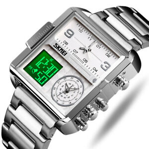 Three Show Mens Sports Watches Waterproof Stainless Steel Analog Digital Watches