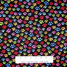 Cool Cats Fabric - Rainbow Paw Prints on Black - Loralie Designs Cotton