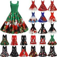 Womens Christmas Swing Dress Xmas Evening Party Retro Skater Dresses Plus Size