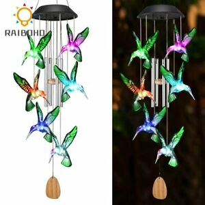 Color Changing Solar Power Wind Chime Crystal Ball Hummingbird Butterfly