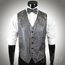 Metallic Sequins Vest Bow Tie Set for Suit or Tuxedo 5 Colors Available