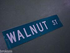 "Vintage ORIGINAL WALNUT ST STREET SIGN 36"" X 9"" WHITE LETTERING ON GREEN"