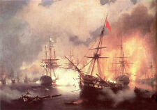 """Dream-art Oil painting Naval battle with burning warships on ocean canvas 36"""""""