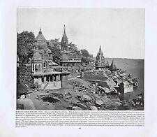 BURNING GHAT BENARES, INDIA- Holy City- 1894 Vintage Historical Print