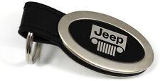 Jeep Keychain VEHICLE Logo Chrome Black Leather Metal AUTHENTIC Key Ring Lanyard