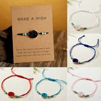 Handmade Make A Wish Natural Stone Braided Bracelet Bangle Friendship Jewellery
