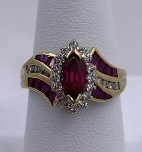 14k Yellow Gold Over 2.75tcw Marquise & Princess Ruby and Diamond Wedding Ring