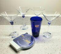 4 SKYY VODKA Stemmed Martini Glasses, Pint Glass & Coasters  *READ Lot of 6
