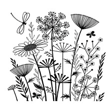 Crafty Individuals SUMMER MEADOW Unmounted Red Rubber Stamp