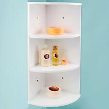 3 Tier Corner Shelving Unit White Wooden Shelves Storage Wall Kitchen Bathroom