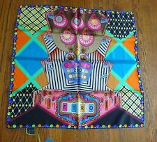 Etro NWT Colorful Pinball Design Bright Square 100% Silk Scarf Retail $275