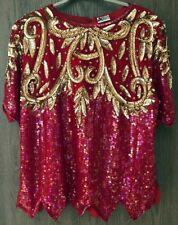 Dressy Long Blouse Top Silk Sequin Lined Bollywood Party Holiday Christmas Sz L