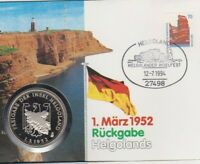 Numisbrief 1952 Rückgabe Helgolands 1994 70 Pfg Briefmarke Stempel Helgoland