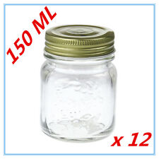 12 x Small 150ml Jam Conserve Dessert Candy Storage Glass Jar w/h Gold Lid A
