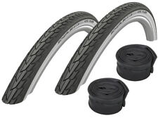"""2 x Schwalbe Road Cruiser Bicycle Tire (black-white) 20""""-28"""" + Hoses"""