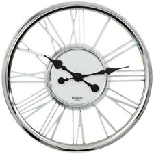 Clear Glass Chrome Frame Large Roman Numeral Wall Clock Kitchen / Office 40Cm