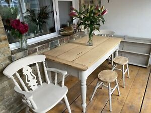 Antique Rustic Pine Farmhouse Kitchen Dining Table Chairs And StoolsRefurbished