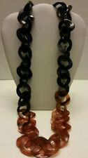 Gorgeous Buffalo Horn navy tortoise lacquered chunky long link necklace