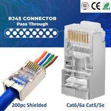 200pcs CAT6 Shielded RJ45 Cable Connector Pass Through Modular Plug End 8P8C