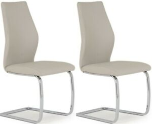 Pair of Vida Living Elis Taupe Faux Leather and Chrome Dining Chair