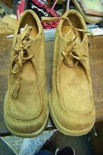 womens splash camel faux suede wedge heels booties size 5 1/2